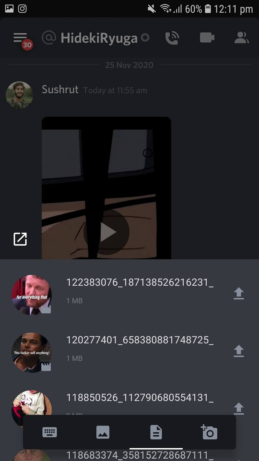 Click on the image icon to upload a pre-recorded video   Download Videos from Discord