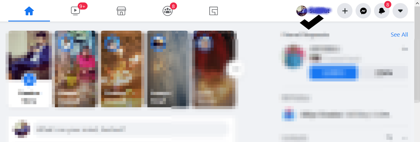 Click on your name on the homepage to open your Facebook profile