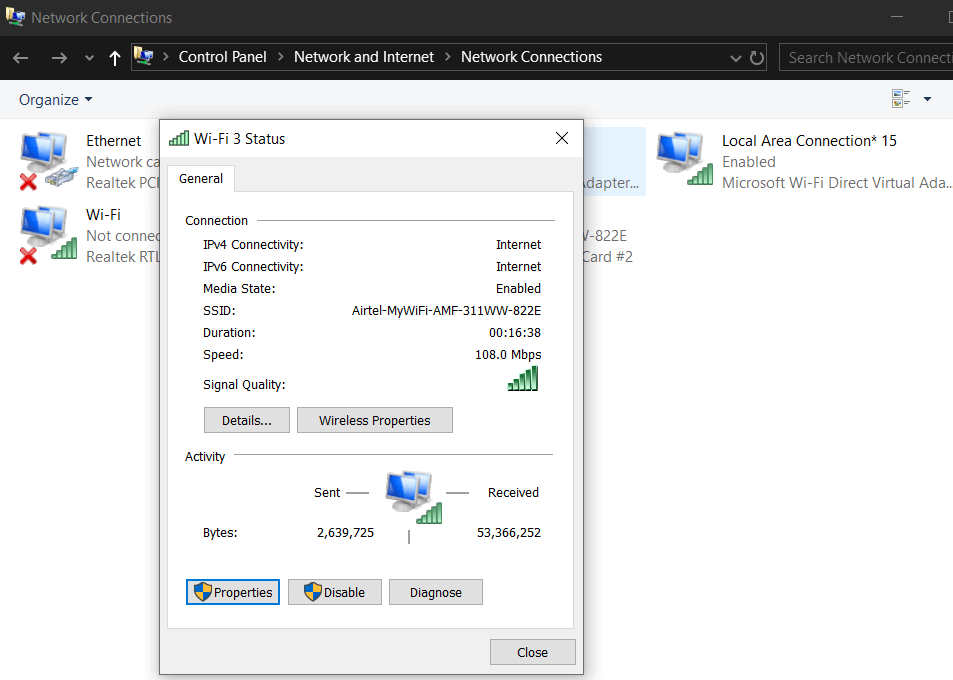 Double click on the Active Internet Connection