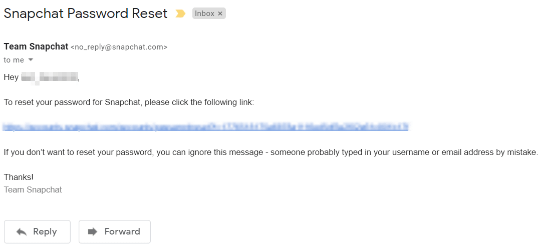 Find an email from Snapchat that contains a link to reset your password