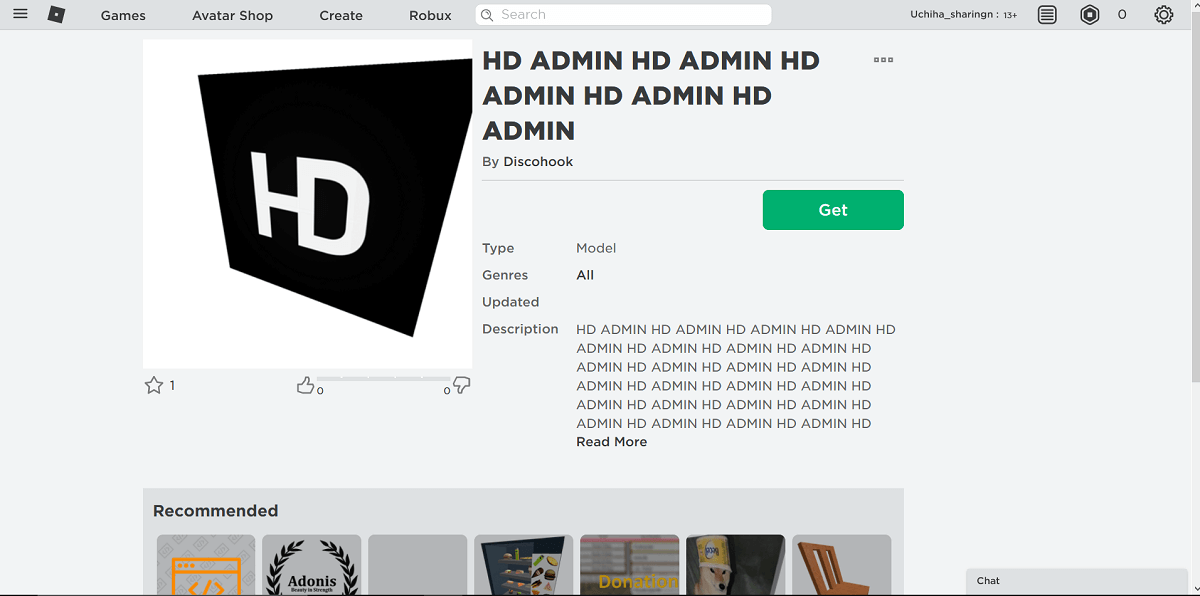 Find the HD admin, add it to your inventory by clicking on get button