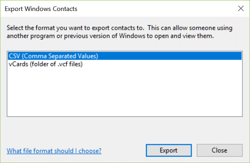 From the Windows Export Contact wizard, select vCards (folder of .VCF files)