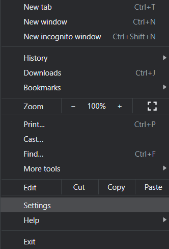 From the menu section, click on Settings