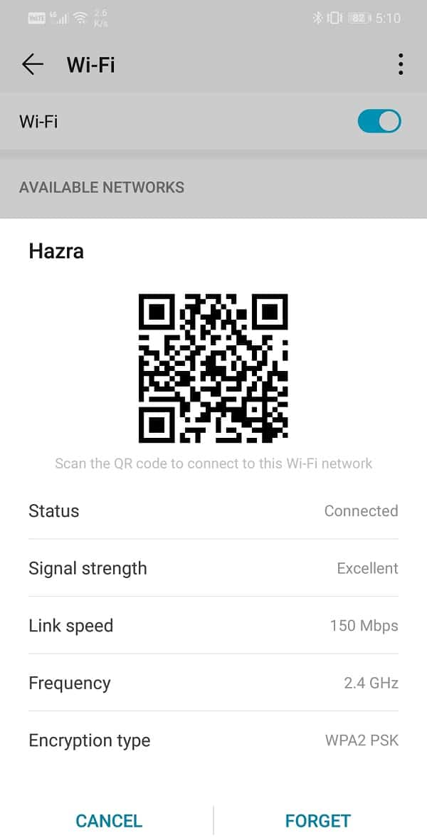 Generate the QR code password for your Wi-Fi