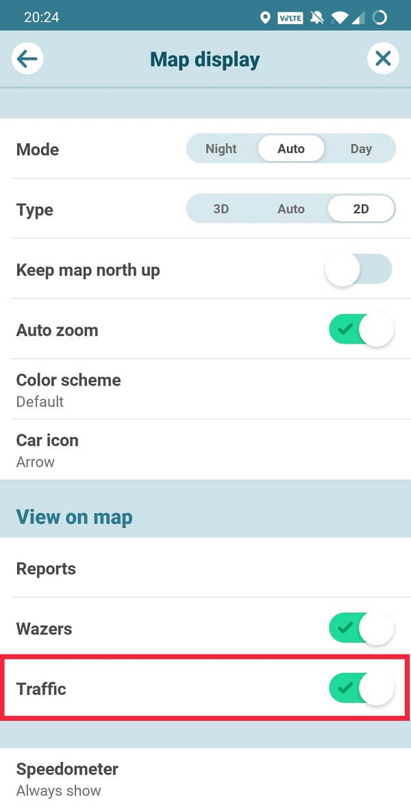 Go to Map Display and enable Traffic under View on map