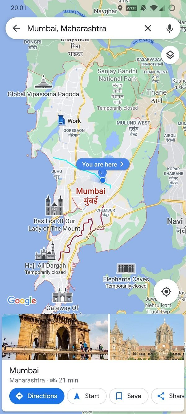 Google Maps highlights the city name and slides in an information card at the bottom of the screen