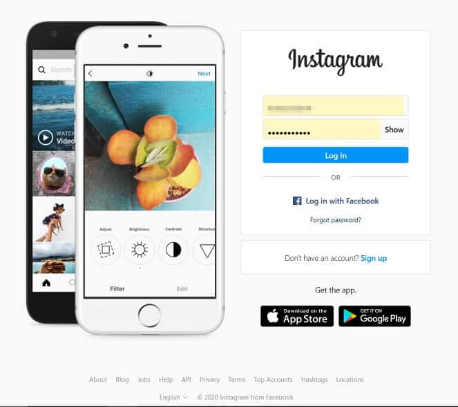 Log in to your Instagram account