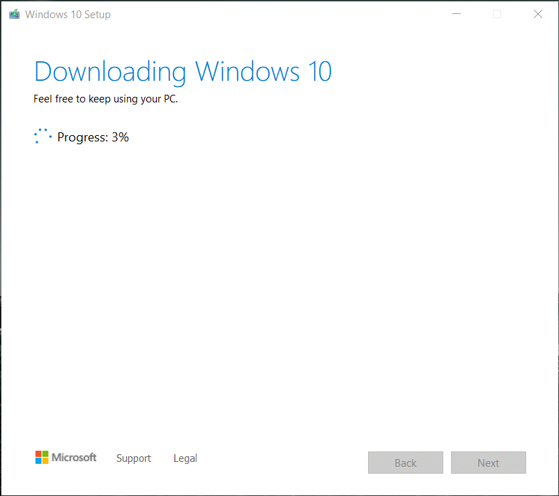 Media creation tool will start downloading Windows 10