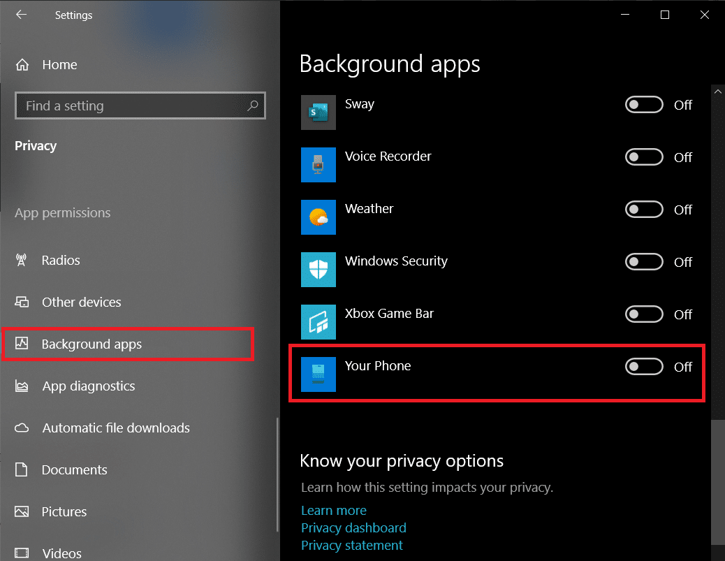 Move over to the Background apps and Disable Your Phone by toggling its switch to off