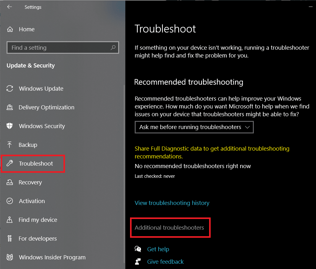 Move to the Troubleshoot settings and click on Additional troubleshooters