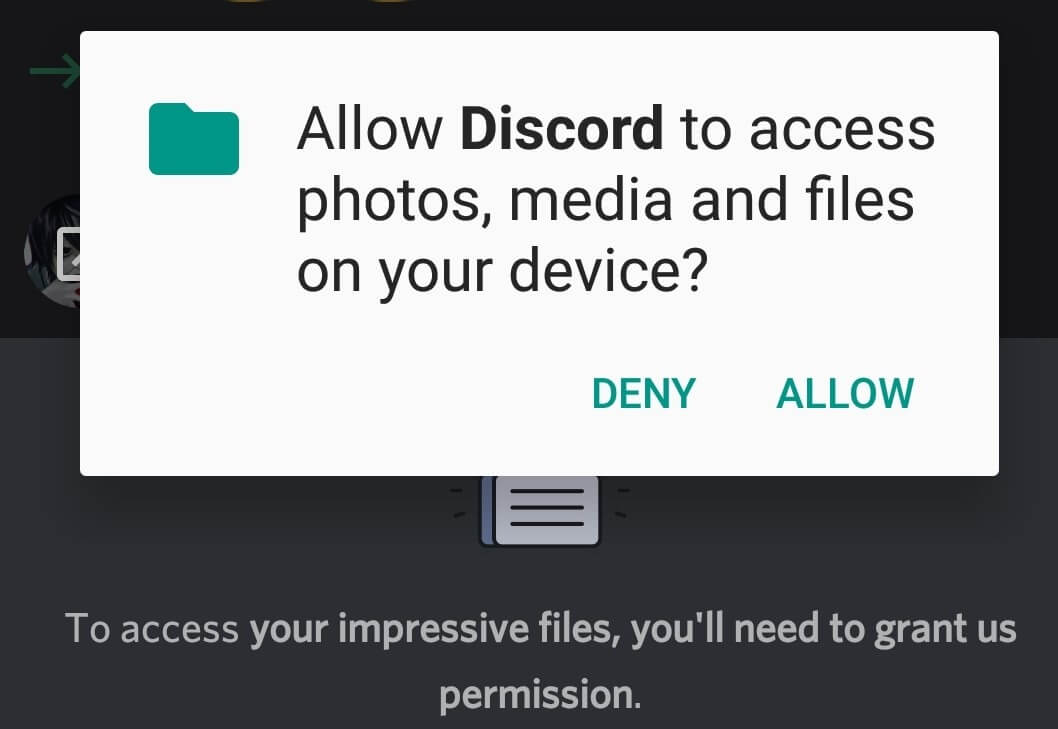 Need to give permissions to use your device's photos, media, and files