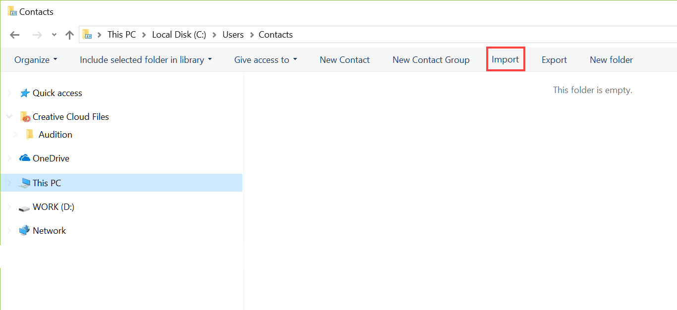 Now click on the Import option to import the contacts