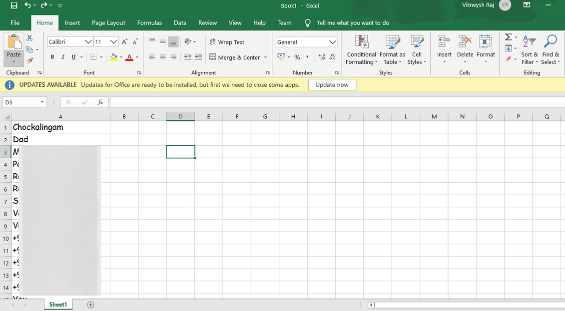 Pressing Ctrl + V will paste the contacts in your Excel Sheet | Extract WhatsApp Group Contacts