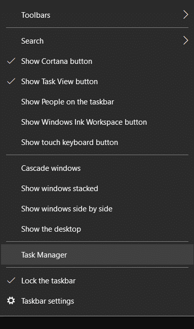 Right-click on the taskbar and select Task Manager | Fix Mouse Cursor Disappears in Chrome