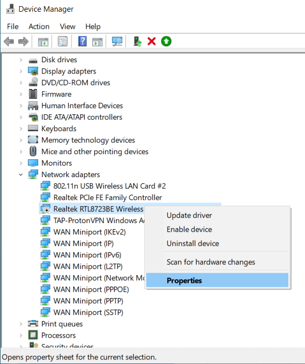 Right-click on the wireless adapteroption and thenproperties