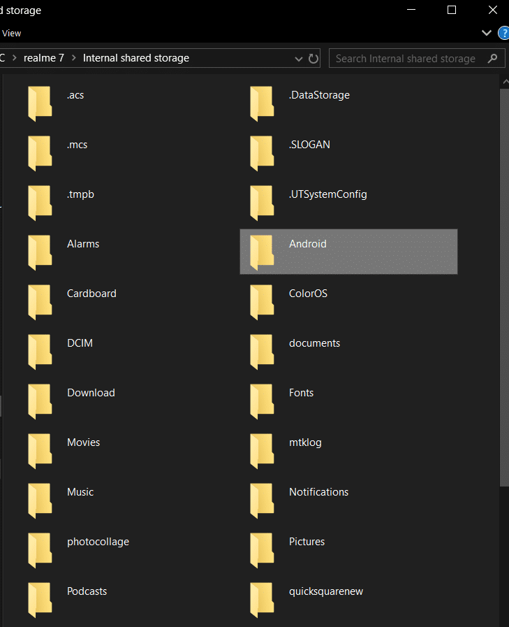 Search for the android system folder, enter the folder and select data