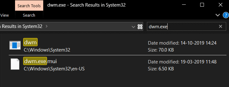Search for the dwm.exe file, right-click on it and Run as administrator