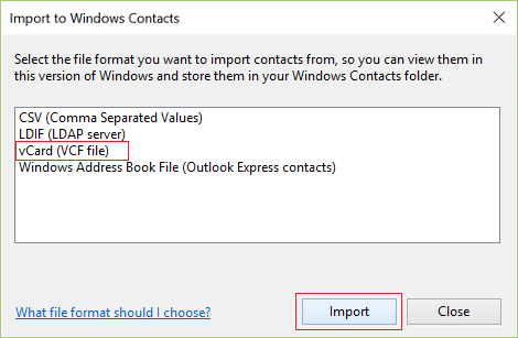 Select the CSV (Comma Separated Values) option