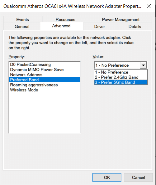 Select the Preferred Bandoption then set the Value to 5.2 GHZ | Fix 5GHz WiFi not showing up in Windows 10