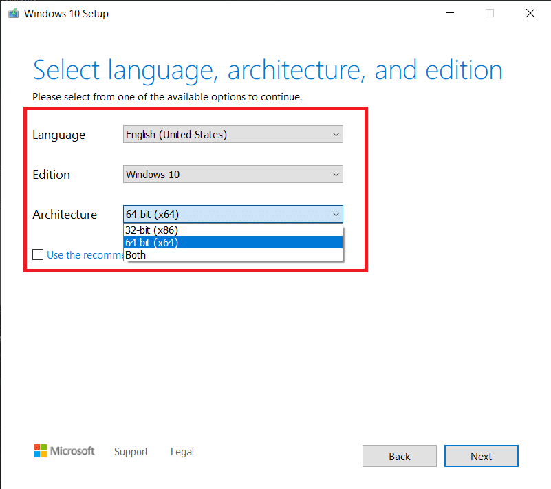 Select the language and architecture for Windows. Click on Next to continue