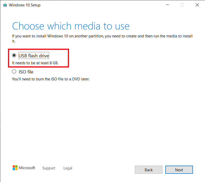 Select the storage media you want to use and hit Next