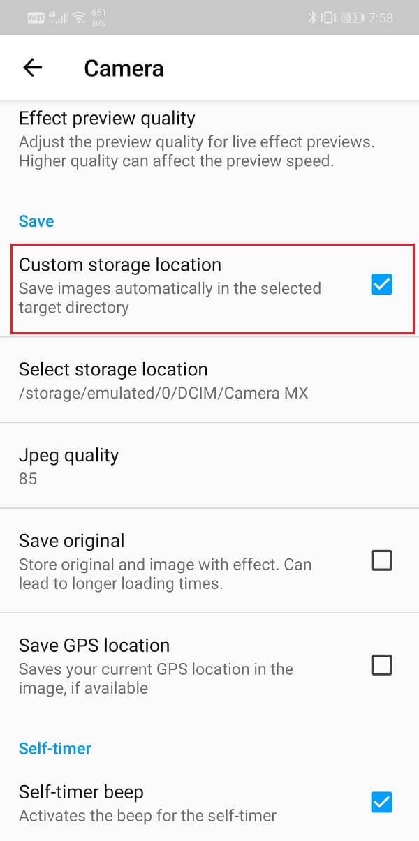 Tap on the checkbox next to the Custom Storage location option | Save Photos To SD Card On Android Phone