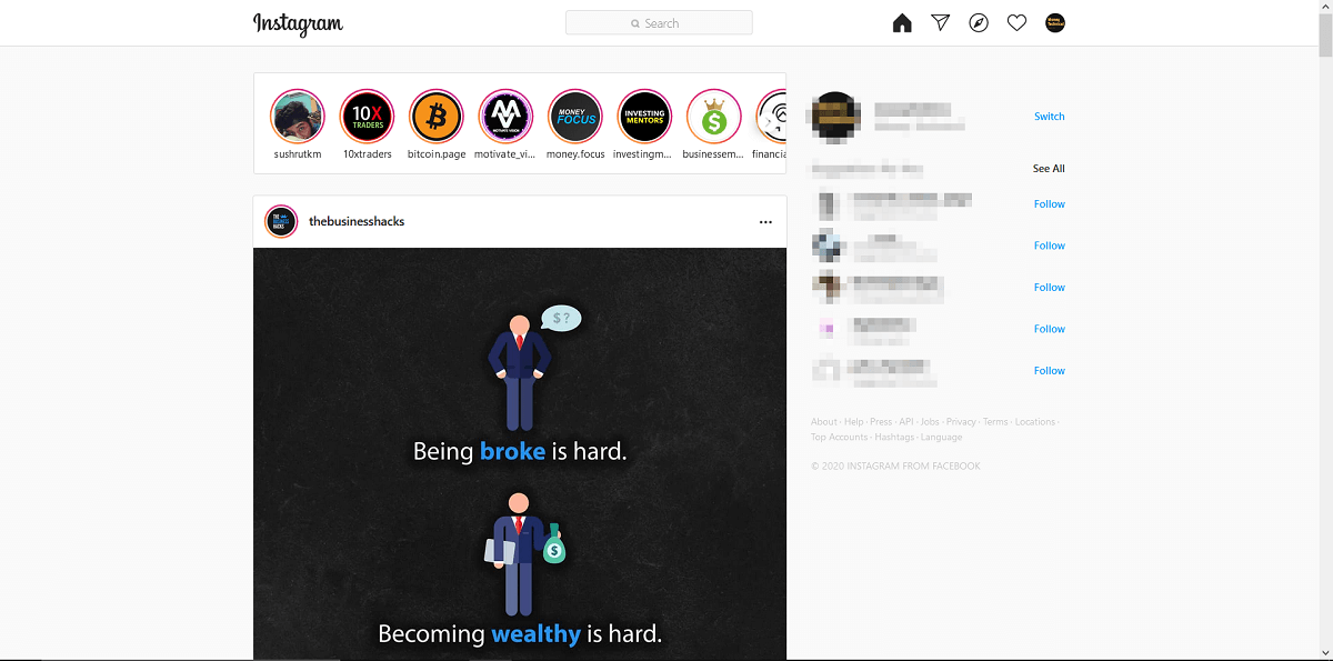 User interface is the same as the mobile application | Check Instagram Messages on PC