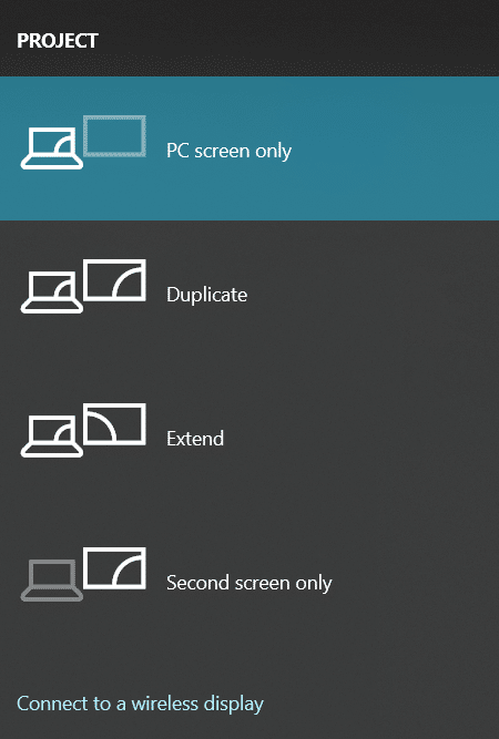 Users are - PC screen only or Second screen only