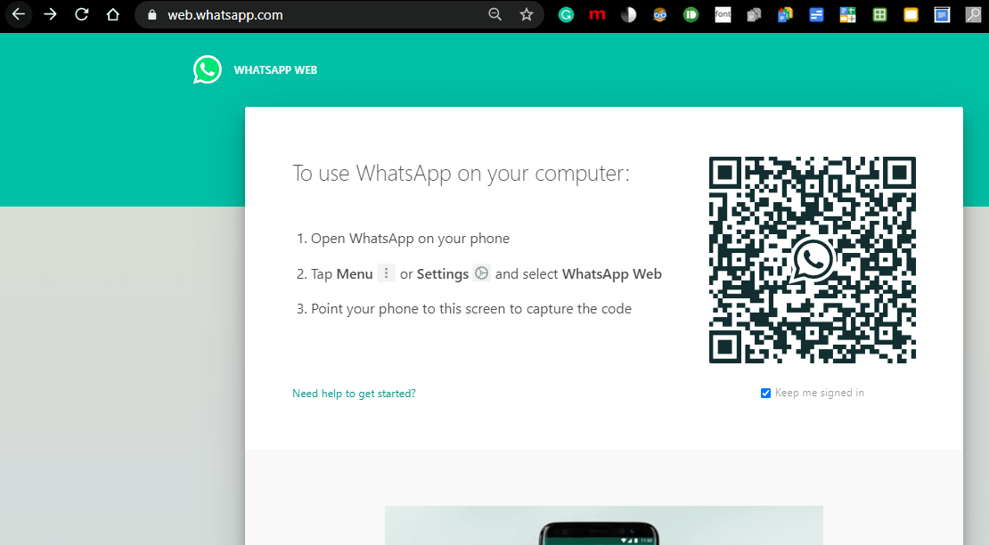 Webpage that opens will show a QR code