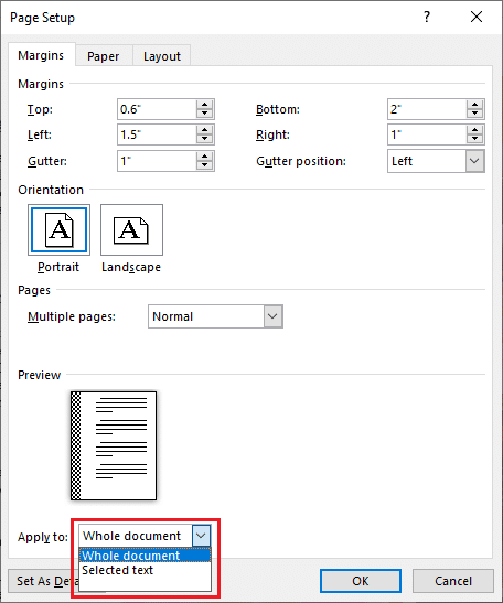 Also, using the Apply to option, select if you would like all pages (Whole document) to have the same margin and gutter space