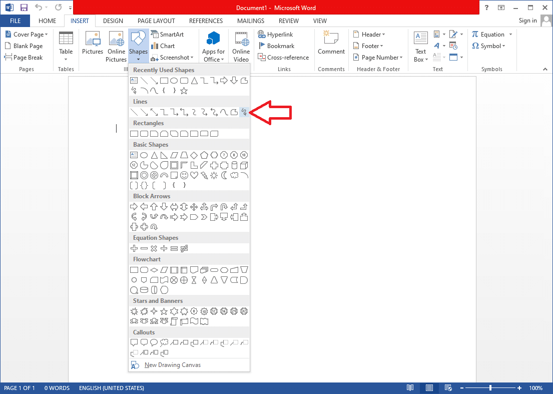 As mentioned earlier, Scribble, the last shape in the Lines sub-section, | Draw in Microsoft Word