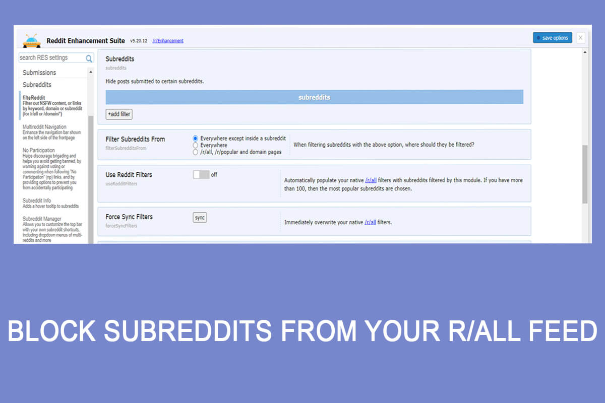 Block Subreddits From Your R all Feed