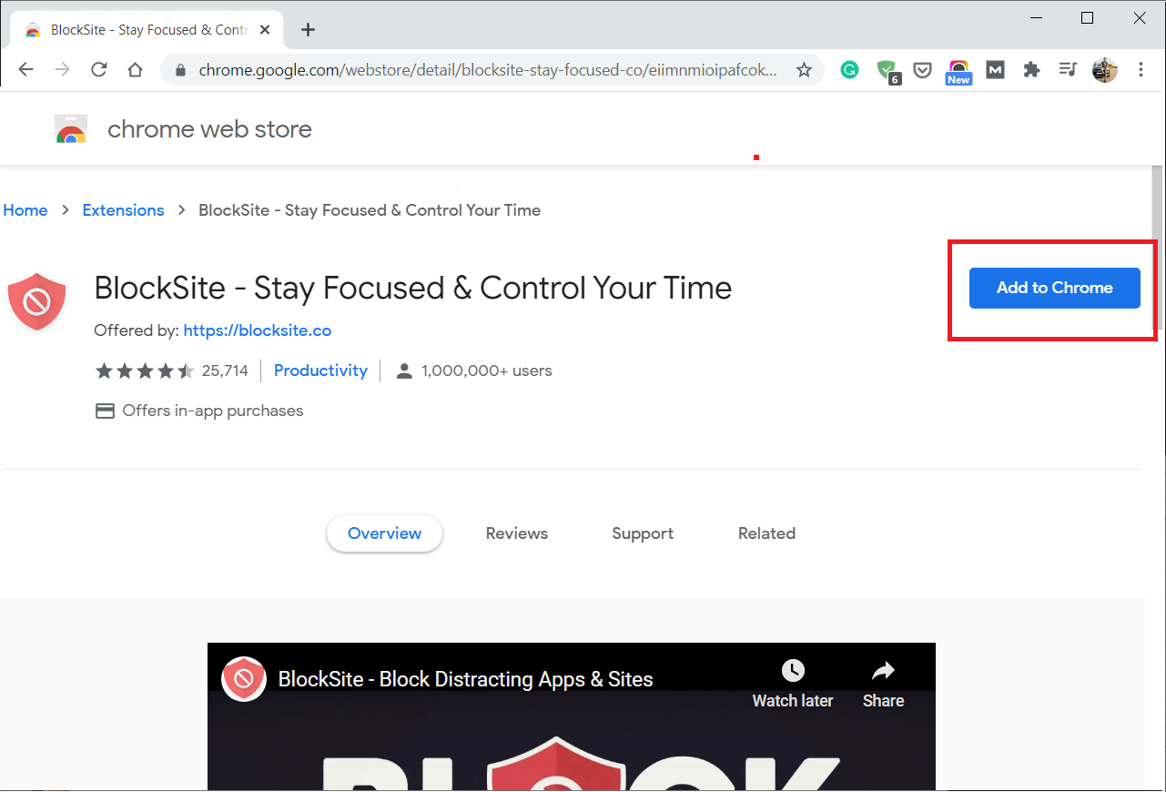 Click on Add to Chrome to add BlockSite extensions