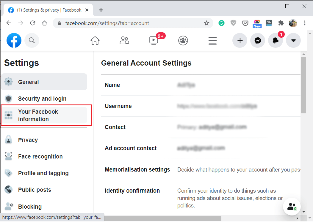 Click on Your Facebook Information under Settings
