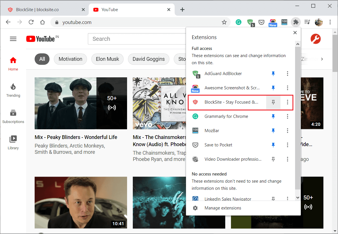 Click on the Pin icon to pin the BlockSite extension in the menu bar