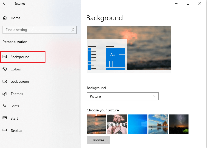 Click on the background in the left side panel. | Fix black desktop background in Windows 10