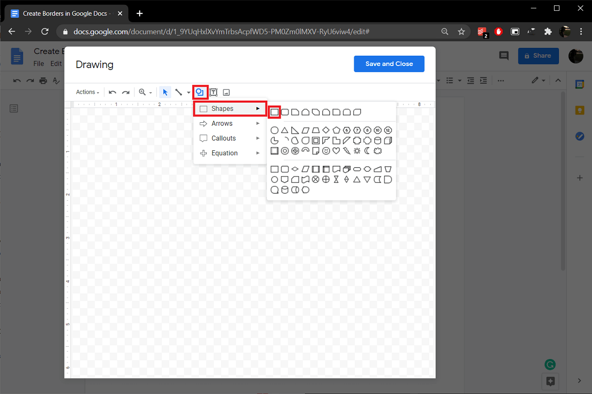 Click on the shapes icon and select a rectangle