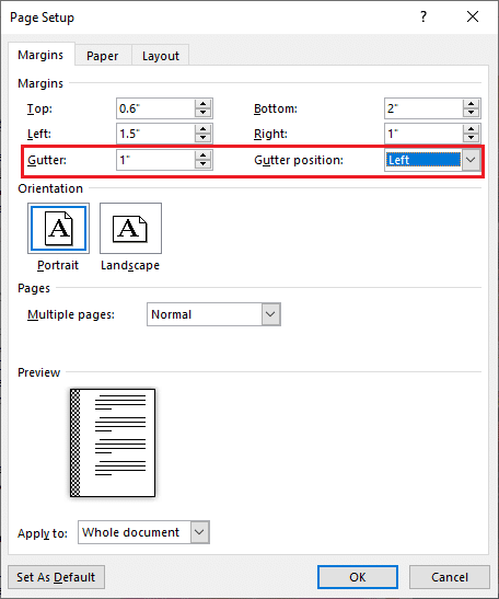 Click on the up arrow button to add a little gutter space and select the gutter position from the adjacent drop-down.