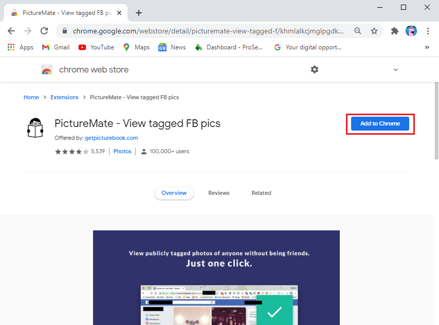 Download PictureMate extension on your google browser. | See Hidden Photos On Facebook