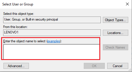 Enter the Username of your windows computer, where it says 'Enter the object name to select'.