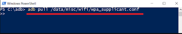 Execute the following command adb pull datamiscwifiwpa_supplicant.conf