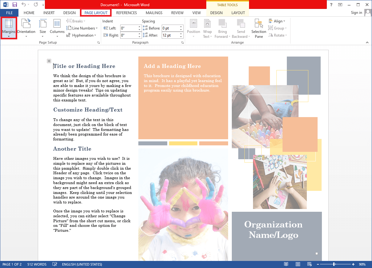 Expand the Margins selection menu in the Page Setup group.   Set Up 1 Inch Margins in Microsoft Word