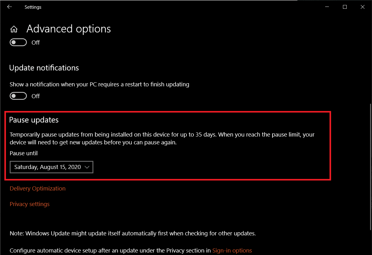Expand the Pause Updates date selection drop-down menu