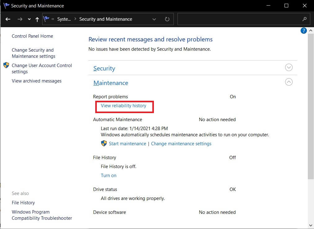 """Expand the maintenance section and find the option """"View reliability history."""""""