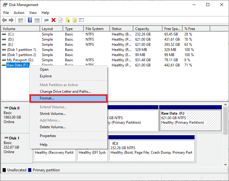 Format 1 | Fix Hard Drive Not Showing up in Windows 10