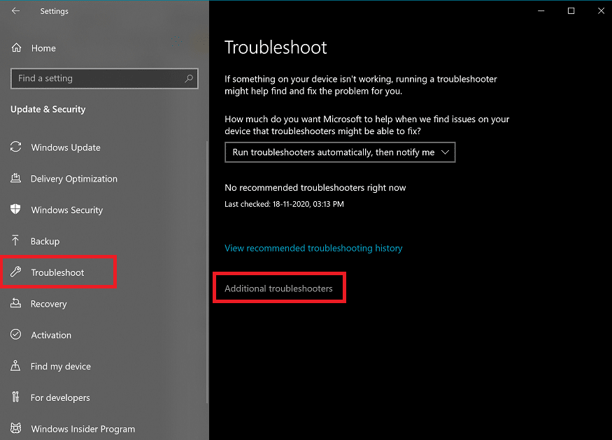 Go to the Troubleshoot tab and click on Advanced Troubleshooters. | Fix Service Host: Diagnostic Policy Service High CPU