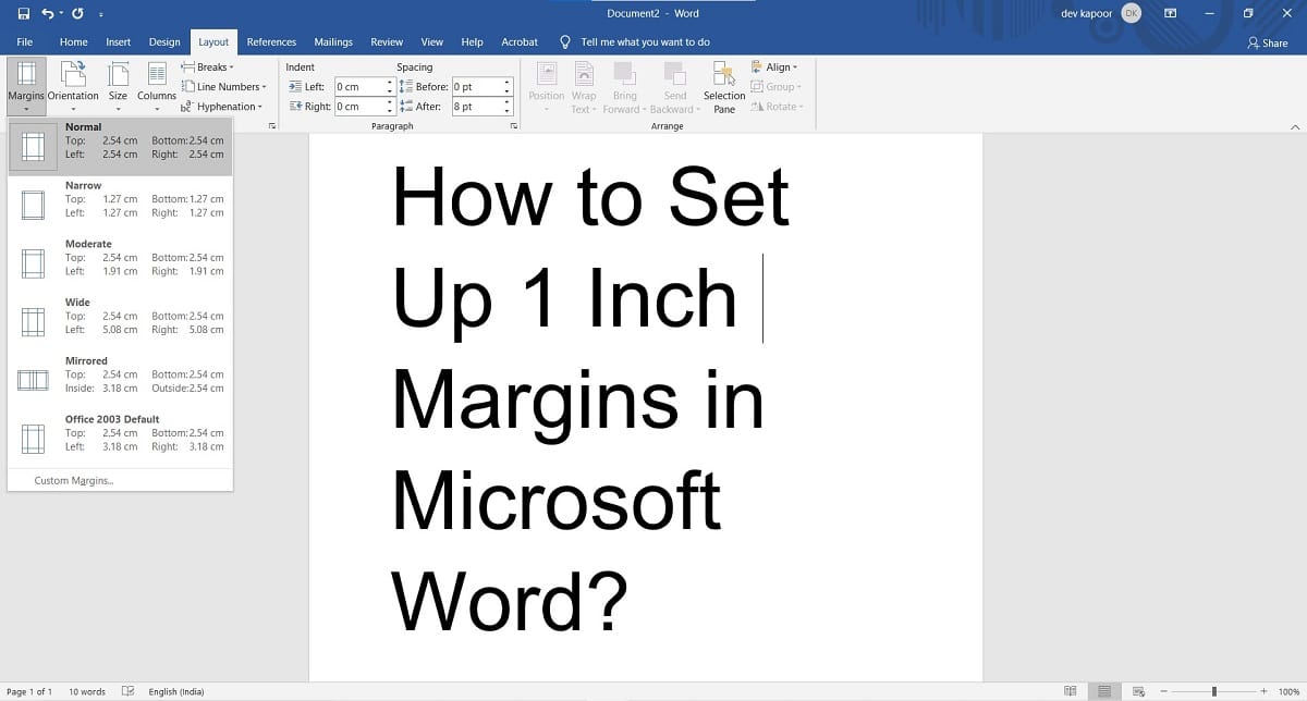 How to Set Up 1 Inch Margins in Microsoft Word