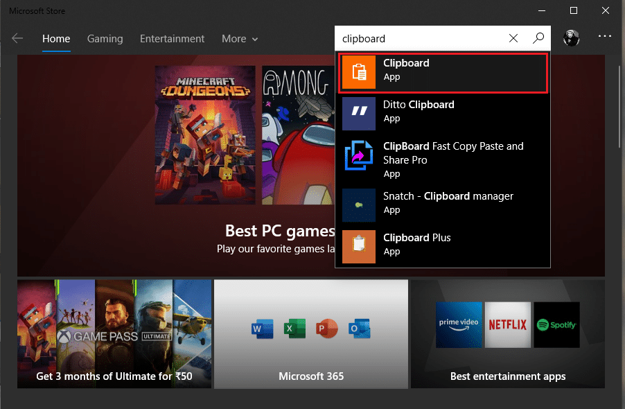 In the Microsoft Store, Search for the 'Clipboard' application.