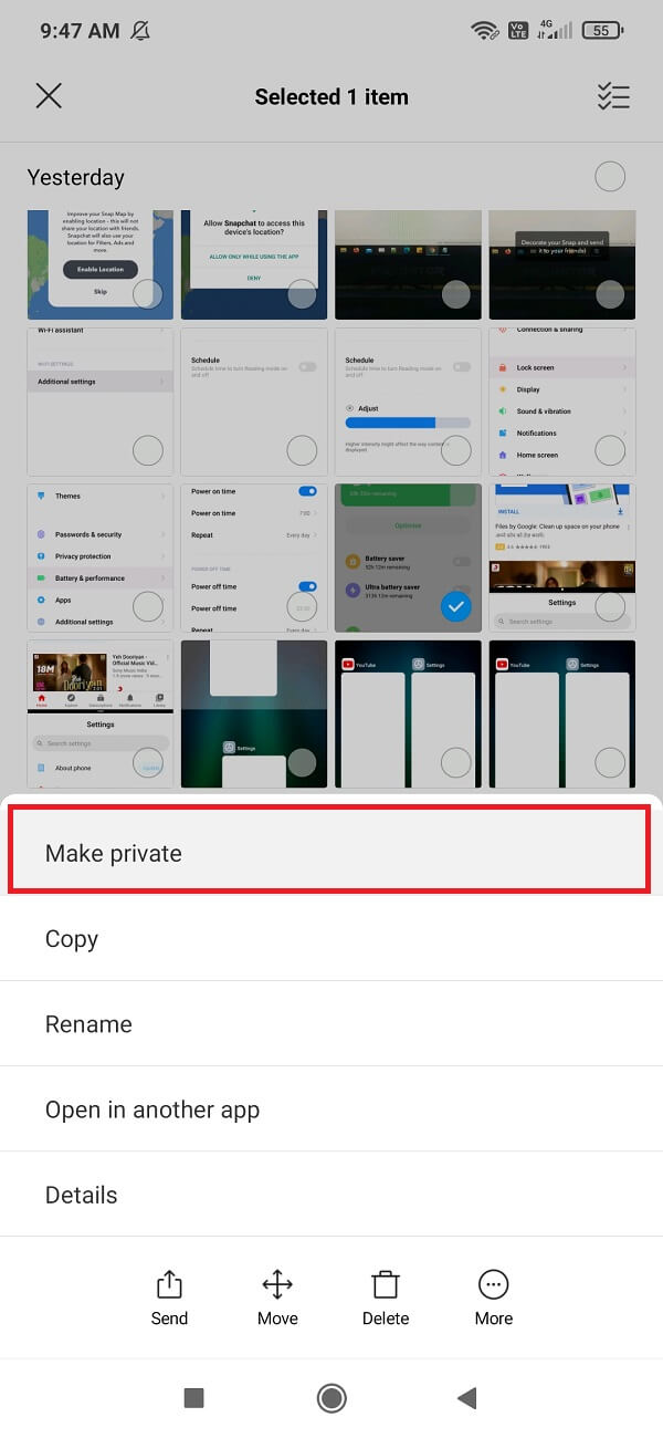 In the More option, you will find the Make Private or Hide button | Hide Files, Photos, and Videos on Android