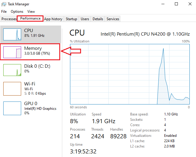 In the performance tab, you have to click on memory | Check If Your RAM Type Is DDR3, Or DDR4 in Windows 10